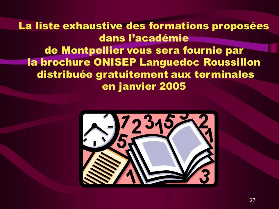 37 La liste exhaustive des formations proposées dans lacadémie de Montpellier vous sera fournie par la brochure ONISEP Languedoc Roussillon distribuée