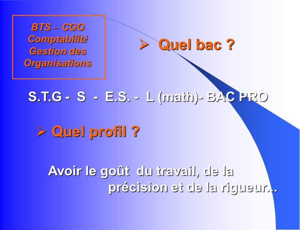 d abord … B.T.S. Comptabilité et Gestion des Organisations - C.G.O. Lycée Arago -Sainte-Anne 4 rue St Alban 42300 ROANNE