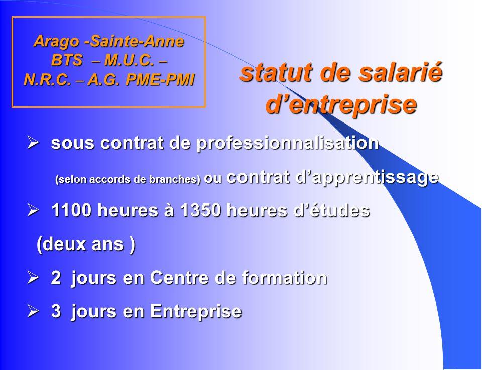 Arago -Sainte-Anne BTS – M.U.C. – N.R.C. – A.G. PME-PMI q Q uel bac ? uel profil ? S.T.G (4 spécialités) - S - E.S. - L. Bac Pro ou autre diplôme homo
