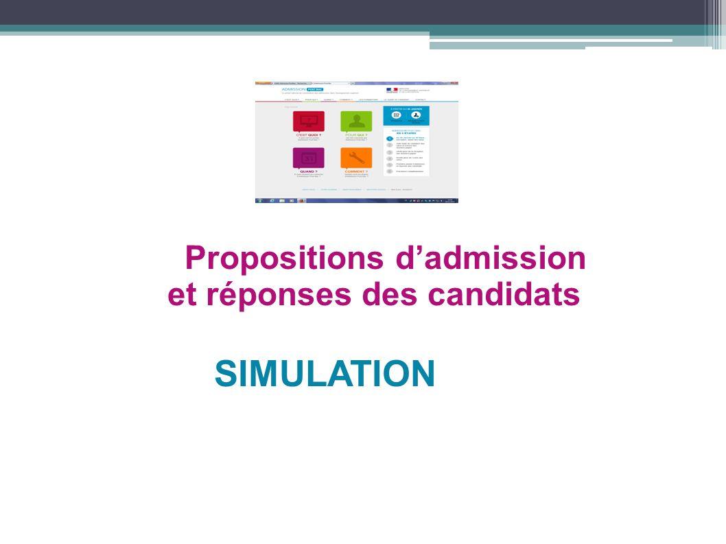 Propositions dadmission et réponses des candidats SIMULATION
