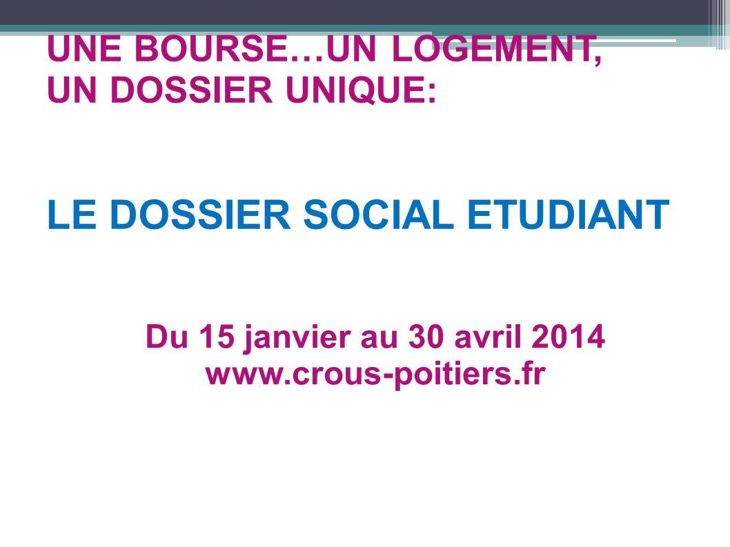 UNE BOURSE…UN LOGEMENT, UN DOSSIER UNIQUE: LE DOSSIER SOCIAL ETUDIANT Du 15 janvier au 30 avril 2014 www.crous-poitiers.fr