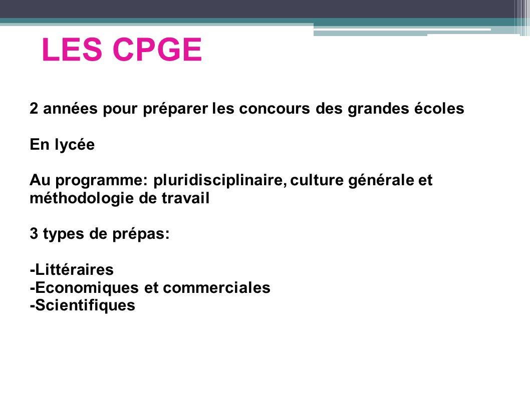 LES CPGE 2 années pour préparer les concours des grandes écoles En lycée Au programme: pluridisciplinaire, culture générale et méthodologie de travail