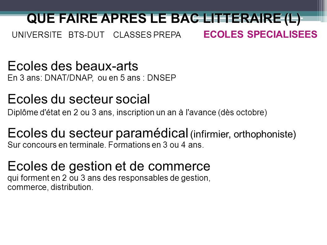 QUE FAIRE APRES LE BAC LITTERAIRE (L) UNIVERSITE BTS-DUTCLASSES PREPA QUE FAIRE APRES LE BAC LITTERAIRE (L) UNIVERSITE BTS-DUT CLASSES PREPA ECOLES SP