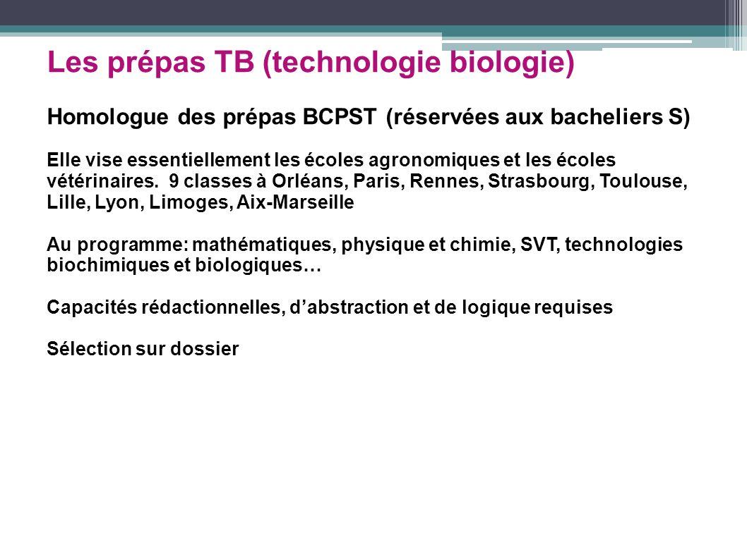 Les prépas TB (technologie biologie) Homologue des prépas BCPST (réservées aux bacheliers S) Elle vise essentiellement les écoles agronomiques et les