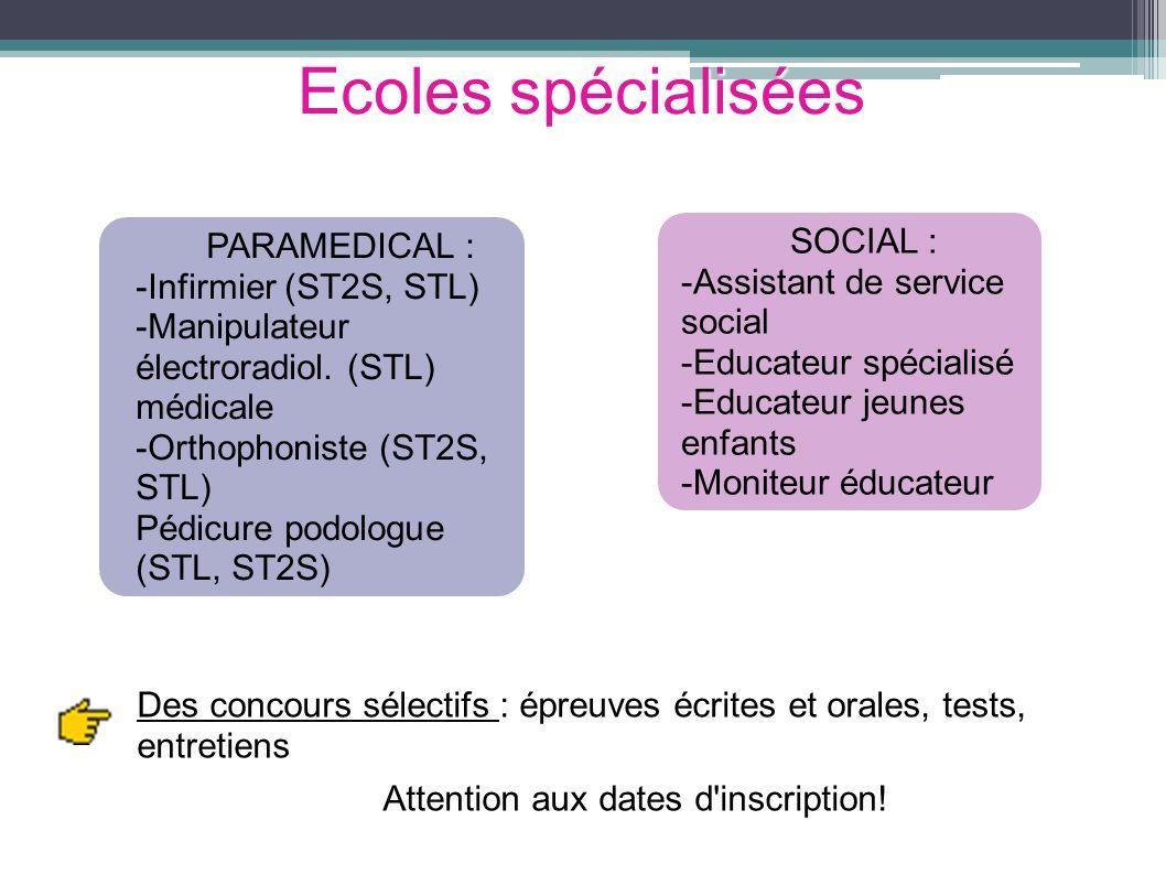 Ecoles spécialisées PARAMEDICAL : -Infirmier (ST2S, STL) -Manipulateur électroradiol. (STL) médicale -Orthophoniste (ST2S, STL) Pédicure podologue (ST