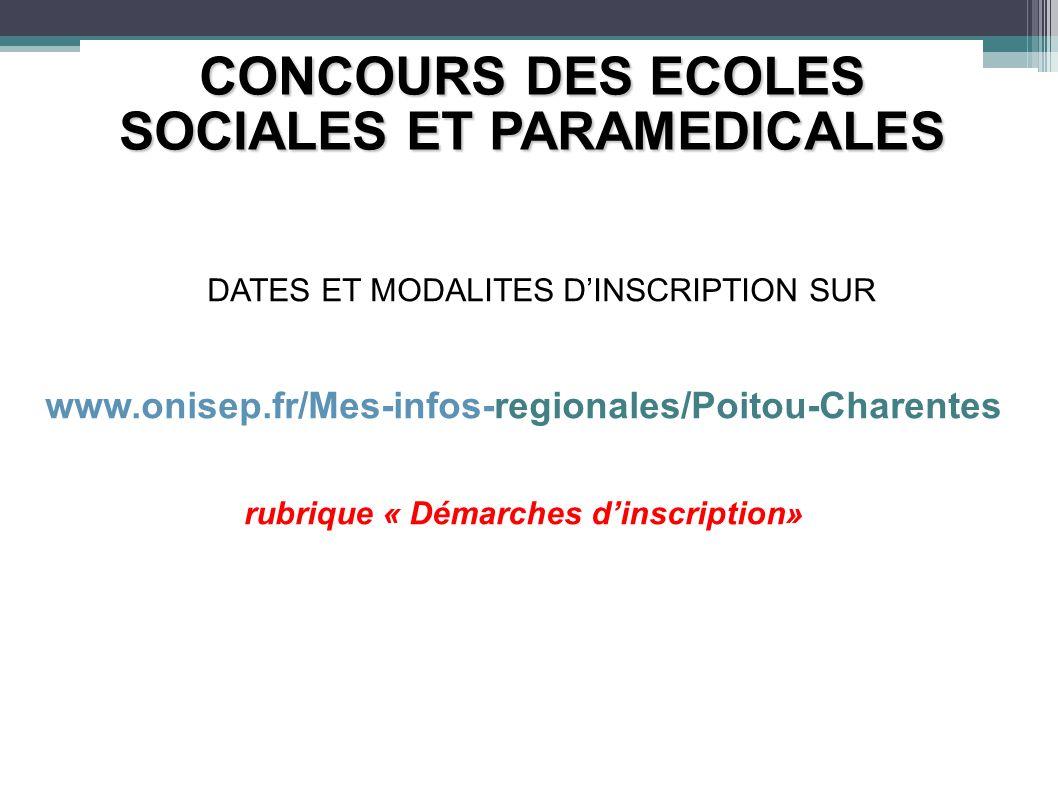 CONCOURS DES ECOLES SOCIALES ET PARAMEDICALES DATES ET MODALITES DINSCRIPTION SUR www.onisep.fr/Mes-infos-regionales/Poitou-Charentes rubrique « Démar