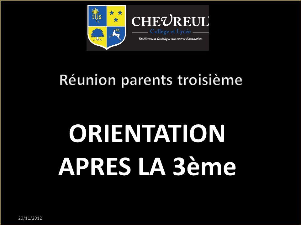 20/11/2012 ORIENTATION APRES LA 3ème