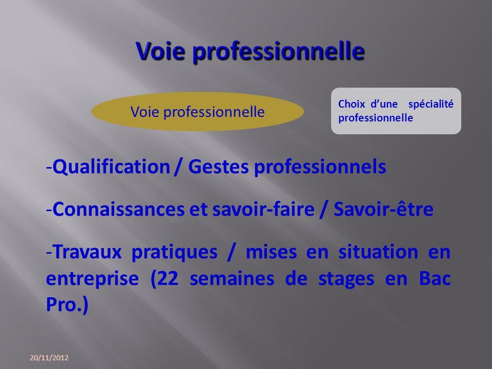 20/11/2012 -Qualification / Gestes professionnels -Connaissances et savoir-faire / Savoir-être -Travaux pratiques / mises en situation en entreprise (