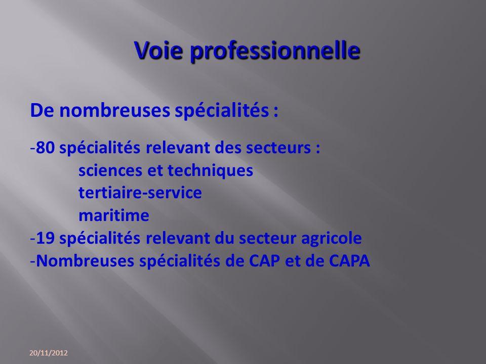 20/11/2012 De nombreuses spécialités : -80 spécialités relevant des secteurs : sciences et techniques tertiaire-service maritime -19 spécialités relev