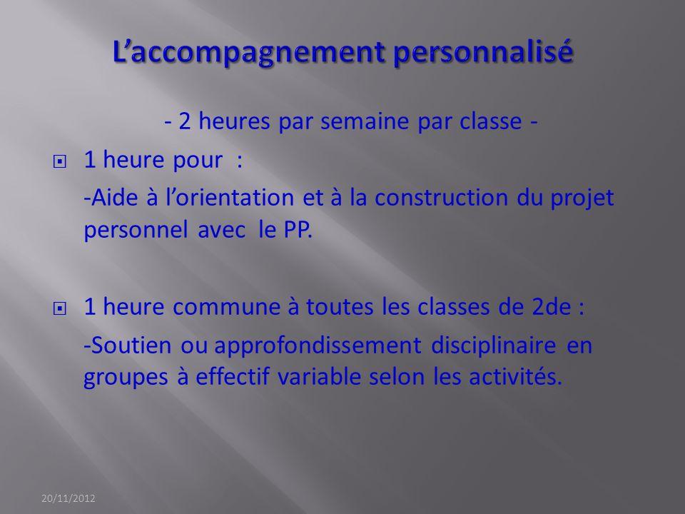- 2 heures par semaine par classe - 1 heure pour : -Aide à lorientation et à la construction du projet personnel avec le PP. 1 heure commune à toutes