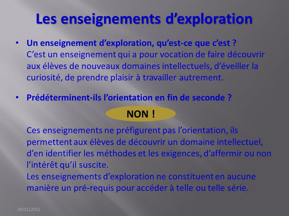 Les enseignements dexploration Un enseignement dexploration, quest-ce que cest ? Cest un enseignement qui a pour vocation de faire découvrir aux élève
