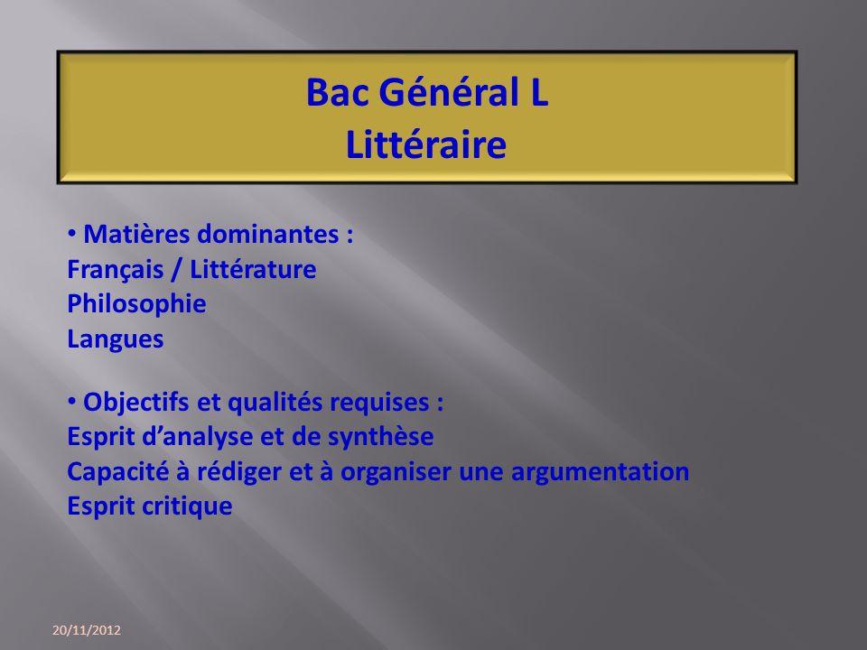20/11/2012 Bac Général L Littéraire Matières dominantes : Français / Littérature Philosophie Langues Objectifs et qualités requises : Esprit danalyse