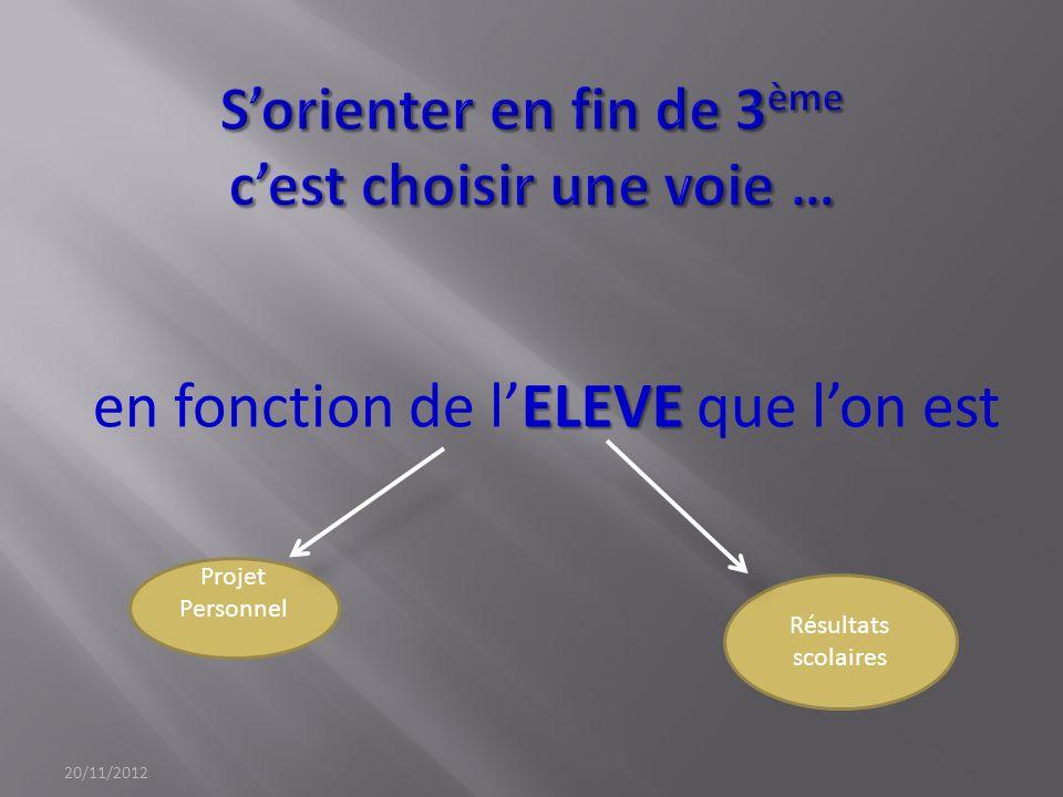 ELEVE en fonction de lELEVE que lon est 20/11/2012 Projet Personnel Résultats scolaires