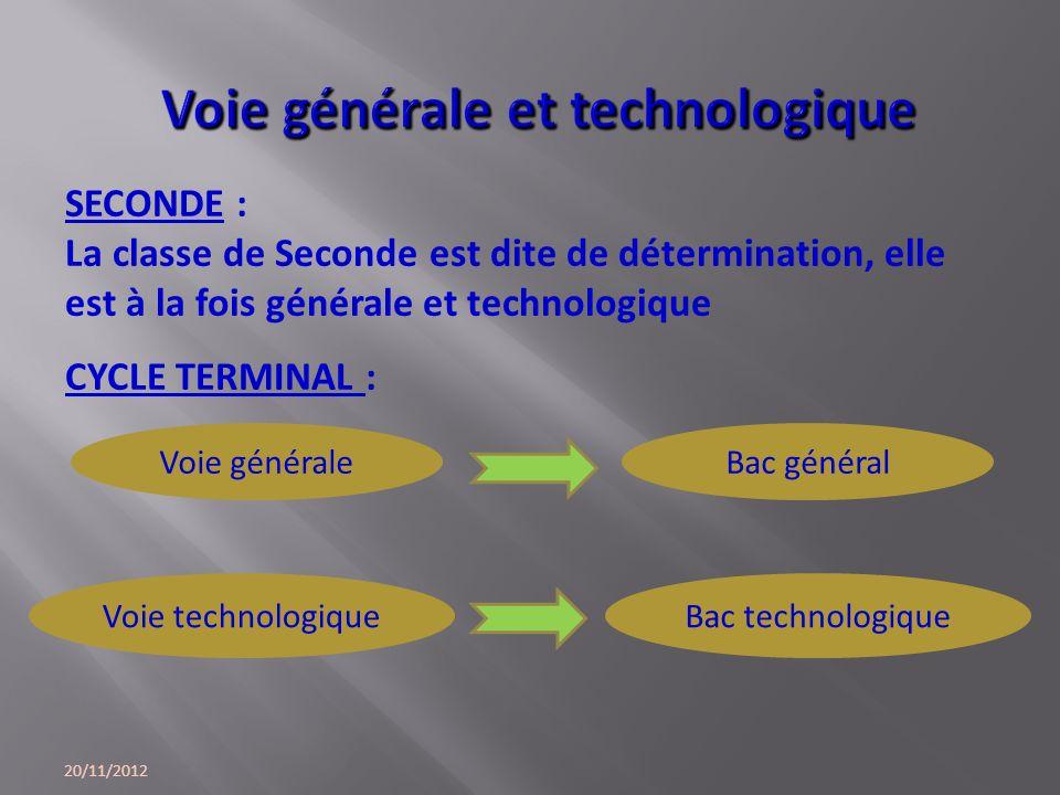 Voie générale Voie technologique SECONDE : La classe de Seconde est dite de détermination, elle est à la fois générale et technologique CYCLE TERMINAL