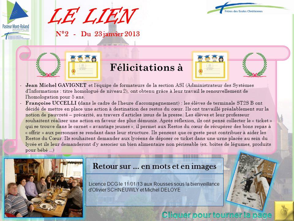LE LIEN N°2 - Du 23 janvier 2013 -Conseil de classe sur le site Pasteur (date en salle des professeurs et sur Zimbra) -Formation le 12/02/2013 du pôle éducatif du lycée + collège sur la sanction .