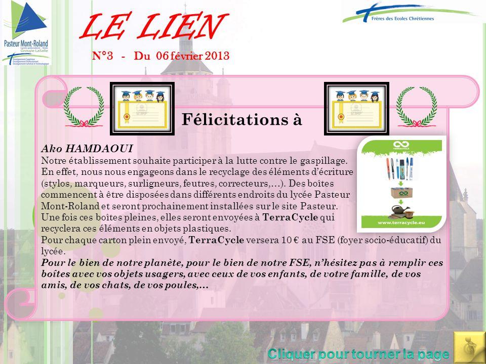 LE LIEN N°3 - Du 06 février 2013 -Formation le 12/02/2013 du pôle éducatif du lycée + collège sur