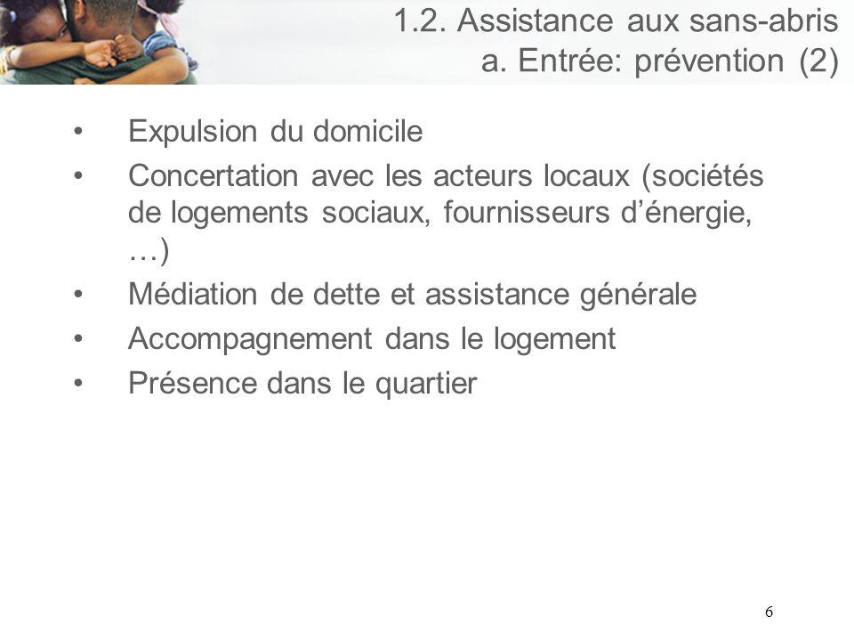 6 1.2. Assistance aux sans-abris a.
