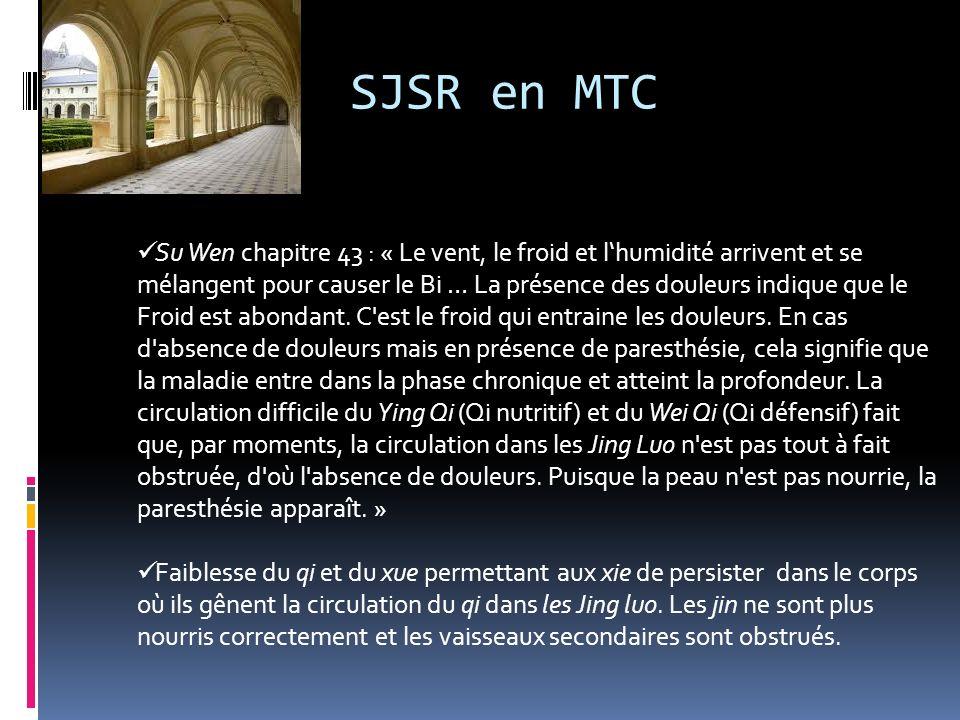 SJSR en MTC Su Wen chapitre 43 : « Le vent, le froid et lhumidité arrivent et se mélangent pour causer le Bi … La présence des douleurs indique que le