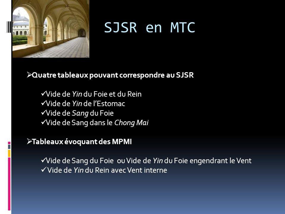 SJSR en MTC Quatre tableaux pouvant correspondre au SJSR Vide de Yin du Foie et du Rein Vide de Yin de lEstomac Vide de Sang du Foie Vide de Sang dans