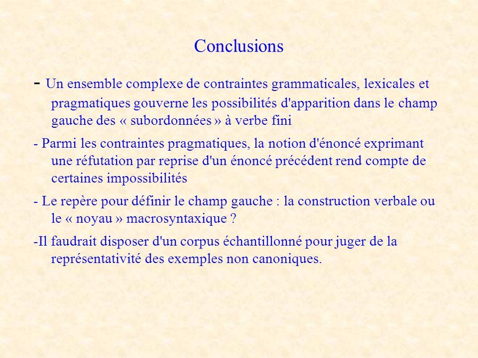 Conclusions - Un ensemble complexe de contraintes grammaticales, lexicales et pragmatiques gouverne les possibilités d'apparition dans le champ gauche