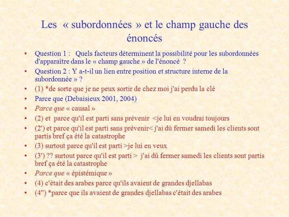 Les « subordonnées » et le champ gauche des énoncés Question 1 : Quels facteurs déterminent la possibilité pour les subordonnées d'apparaître dans le