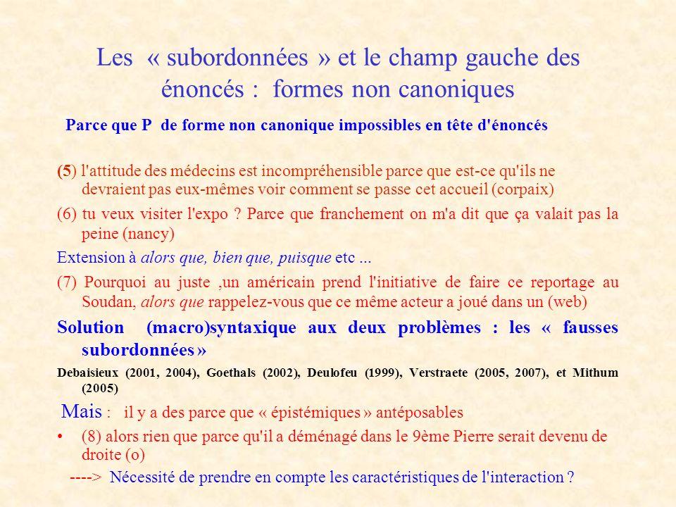 Les « subordonnées » et le champ gauche des énoncés : formes non canoniques Parce que P de forme non canonique impossibles en tête d'énoncés (5) l'att