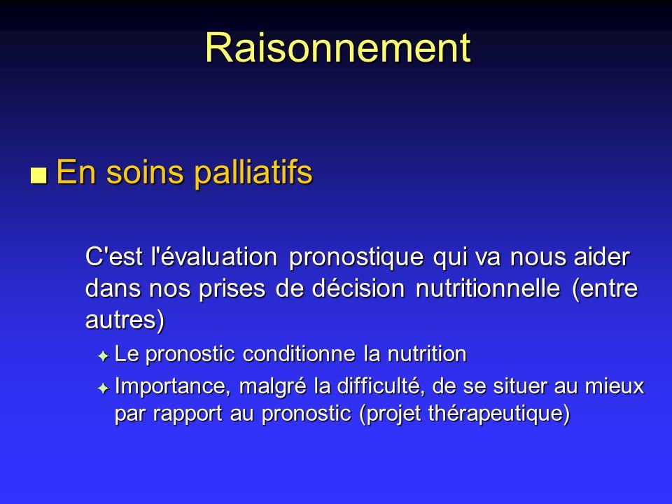 Raisonnement n En soins palliatifs C'est l'évaluation pronostique qui va nous aider dans nos prises de décision nutritionnelle (entre autres) F Le pro