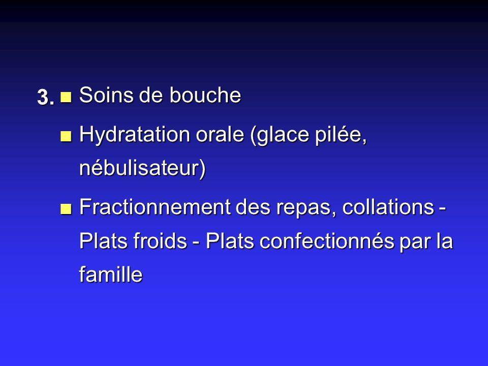 n Soins de bouche n Hydratation orale (glace pilée, nébulisateur) n Fractionnement des repas, collations - Plats froids - Plats confectionnés par la f