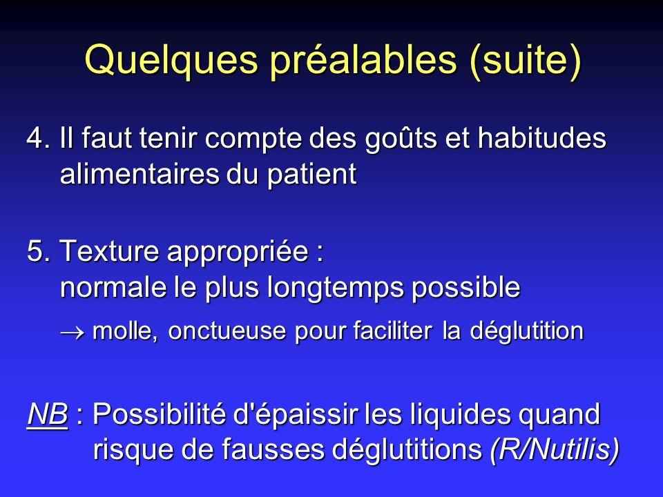 Quelques préalables (suite) 4. Il faut tenir compte des goûts et habitudes alimentaires du patient 5. Texture appropriée : normale le plus longtemps p