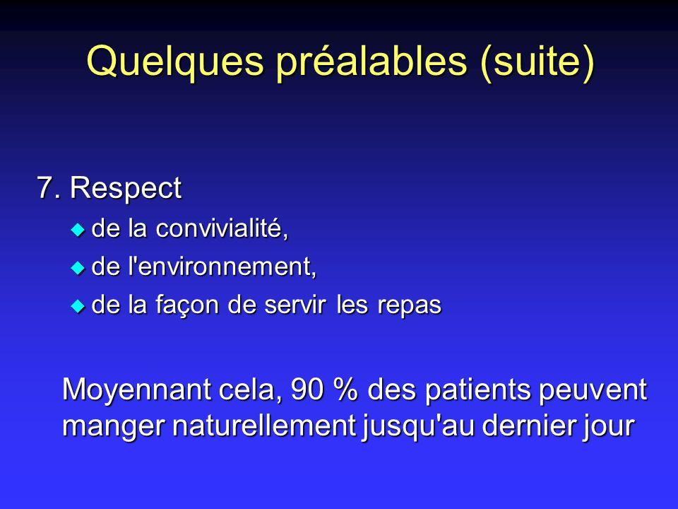Quelques préalables (suite) 7. Respect u de la convivialité, u de l'environnement, u de la façon de servir les repas Moyennant cela, 90 % des patients