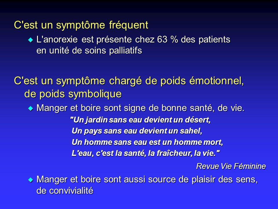 C'est un symptôme fréquent u L'anorexie est présente chez 63 % des patients en unité de soins palliatifs C'est un symptôme chargé de poids émotionnel,