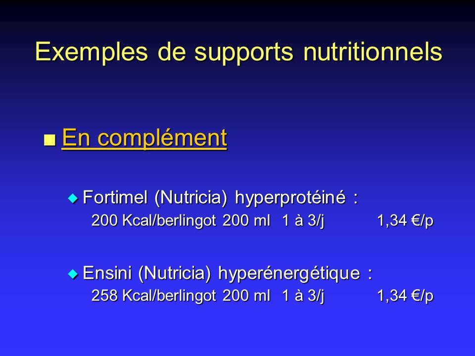 Exemples de supports nutritionnels n En complément u Fortimel (Nutricia) hyperprotéiné : 200 Kcal/berlingot 200 ml1 à 3/j1,34 /p u Ensini (Nutricia) h