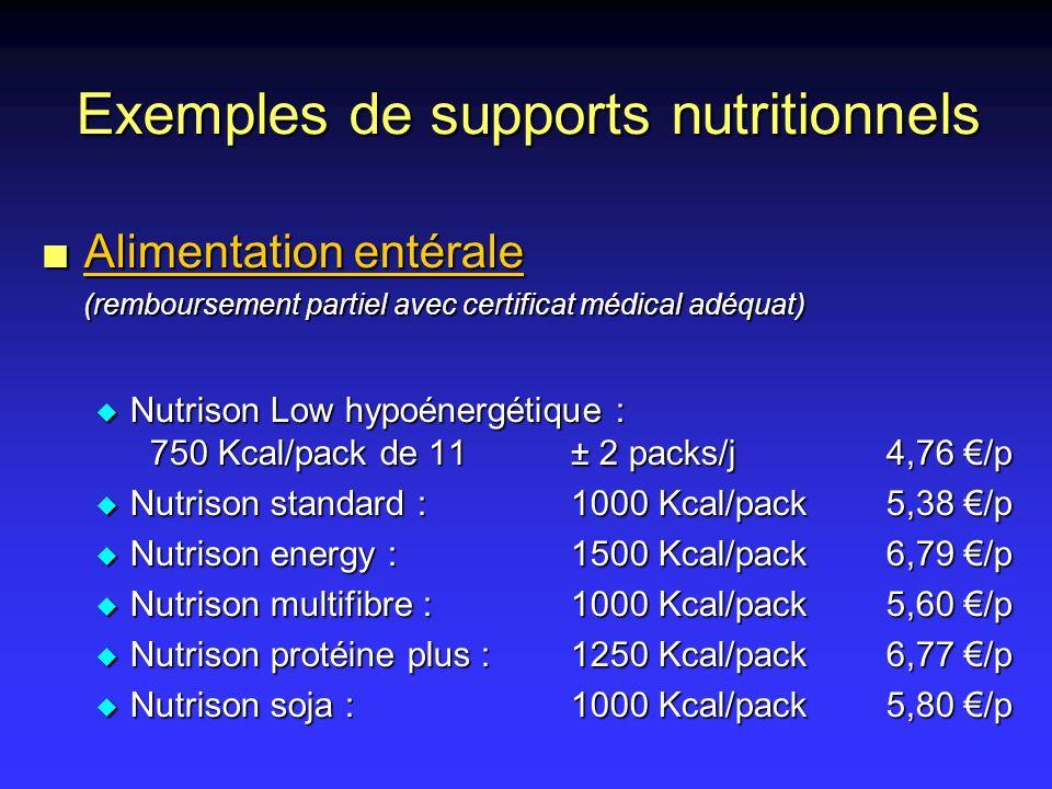 n Alimentation entérale (remboursement partiel avec certificat médical adéquat) u Nutrison Low hypoénergétique : 750 Kcal/pack de 11± 2 packs/j4,76 /p