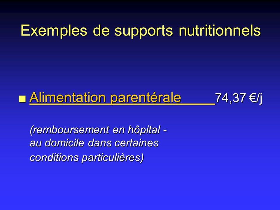 n Alimentation parentérale 74,37 /j (remboursement en hôpital - au domicile dans certaines conditions particulières) Exemples de supports nutritionnel