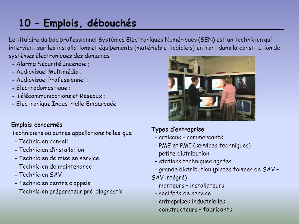 10 – Emplois, débouchés Le titulaire du bac professionnel Systèmes Electroniques Numériques (SEN) est un technicien qui intervient sur les installatio