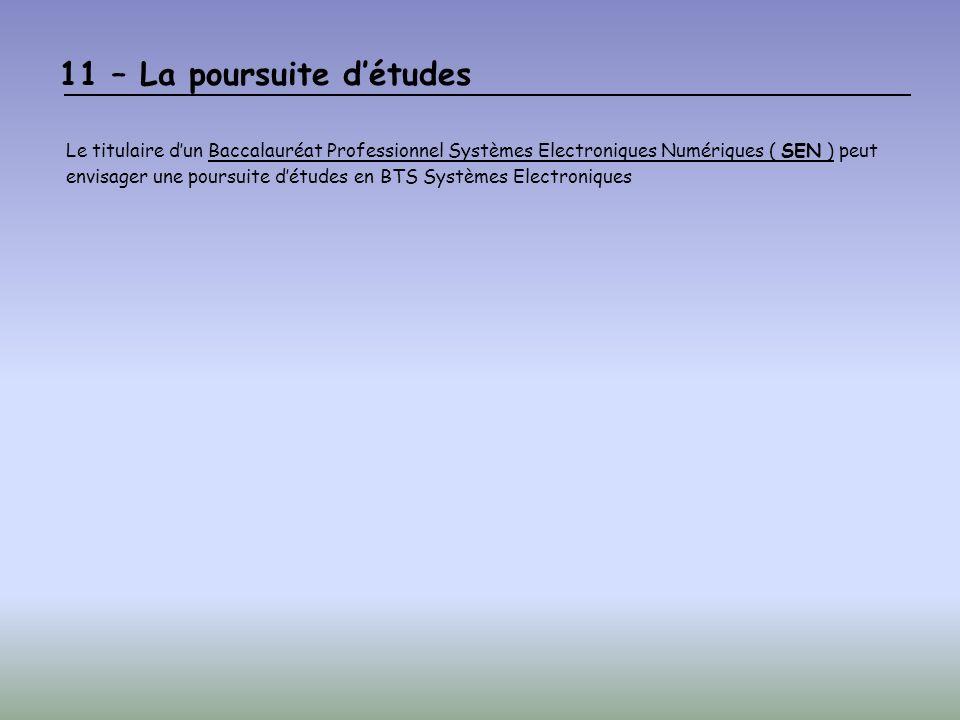 11 – La poursuite détudes Le titulaire dun Baccalauréat Professionnel Systèmes Electroniques Numériques ( SEN ) peut envisager une poursuite détudes en BTS Systèmes Electroniques