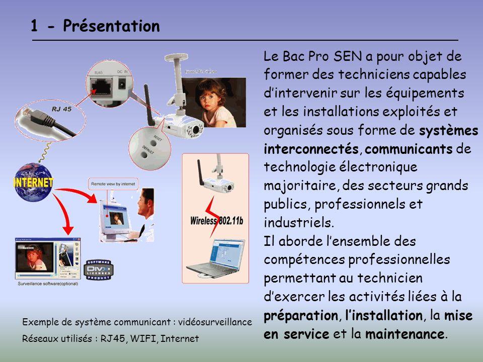 1 - Présentation Le Bac Pro SEN a pour objet de former des techniciens capables dintervenir sur les équipements et les installations exploités et organisés sous forme de systèmes interconnectés, communicants de technologie électronique majoritaire, des secteurs grands publics, professionnels et industriels.