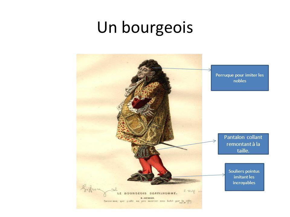 Un bourgeois Perruque pour imiter les nobles Souliers pointus imitant les incroyables Pantalon collant remontant à la taille.
