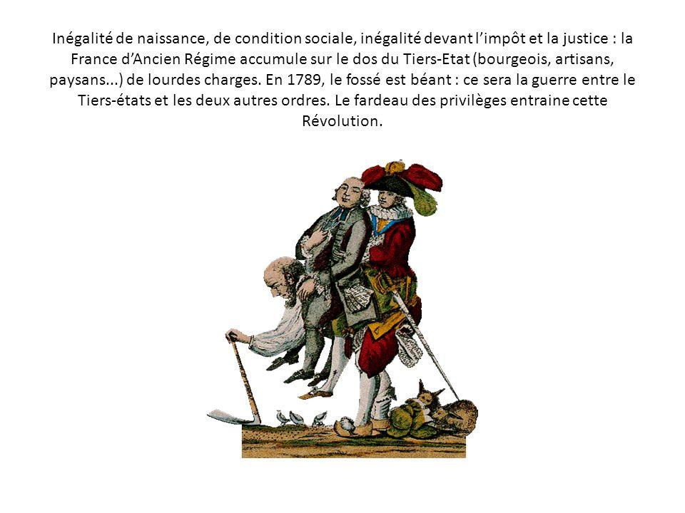 Inégalité de naissance, de condition sociale, inégalité devant limpôt et la justice : la France dAncien Régime accumule sur le dos du Tiers-Etat (bourgeois, artisans, paysans...) de lourdes charges.