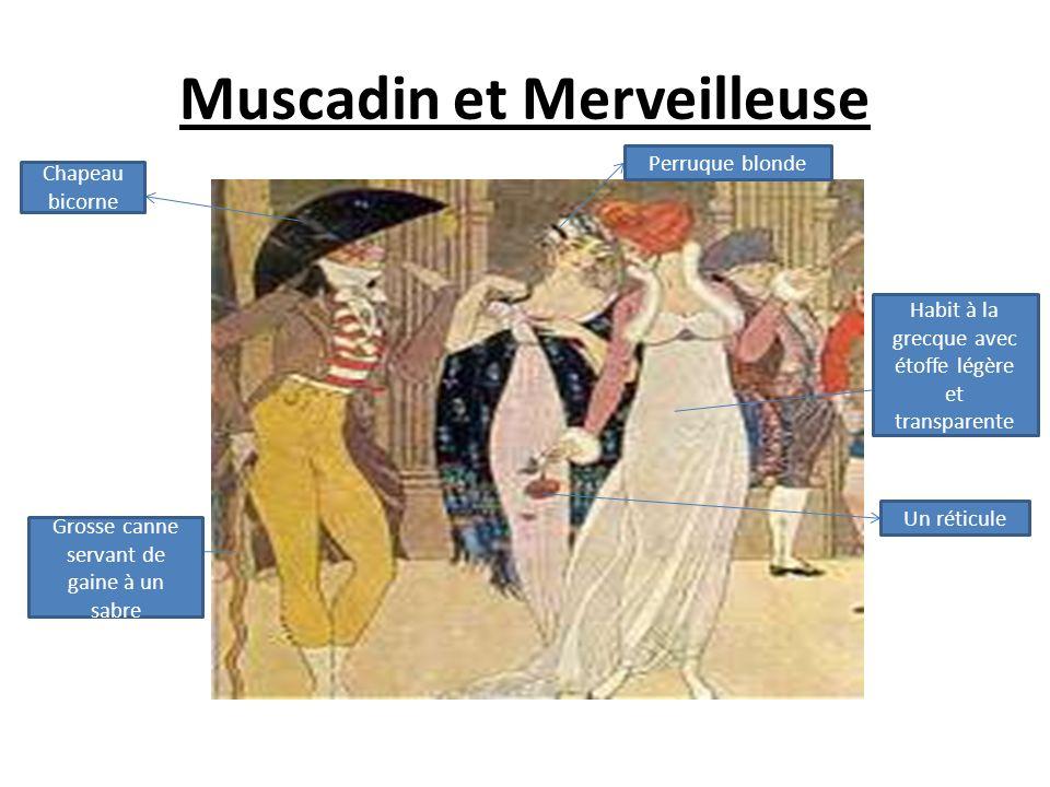 Muscadin et Merveilleuse Habit à la grecque avec étoffe légère et transparente Un réticule Grosse canne servant de gaine à un sabre Perruque blonde Chapeau bicorne