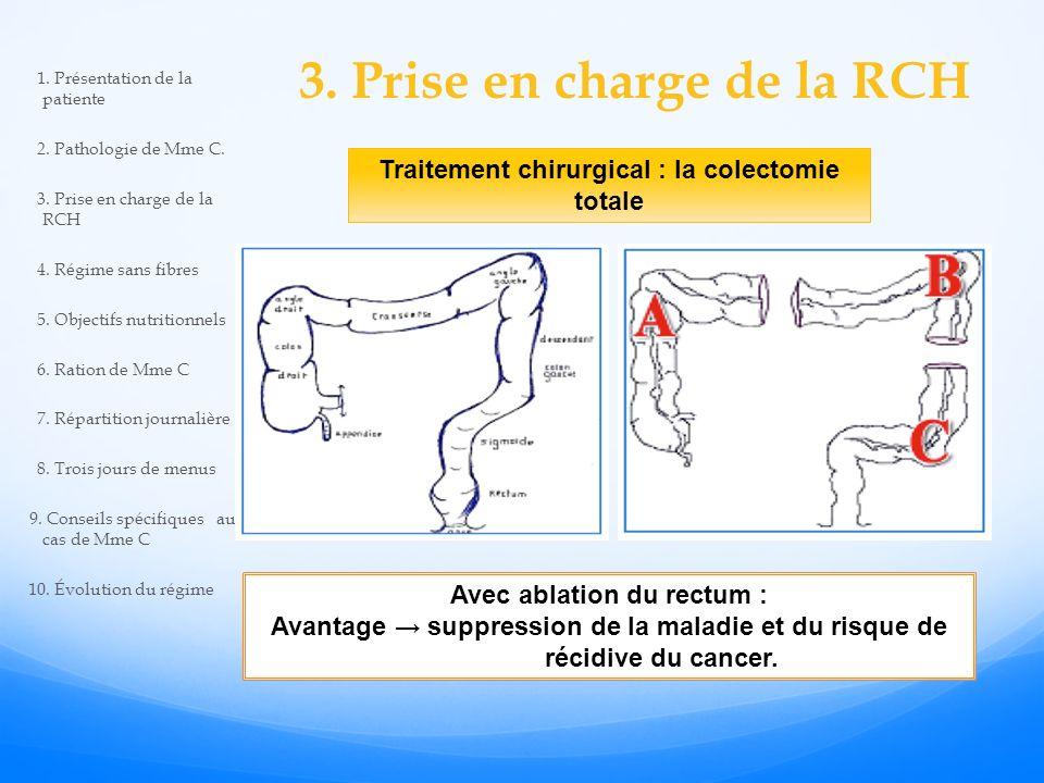 3. Prise en charge de la RCH Traitement chirurgical : la colectomie totale Avec ablation du rectum : Avantage suppression de la maladie et du risque d