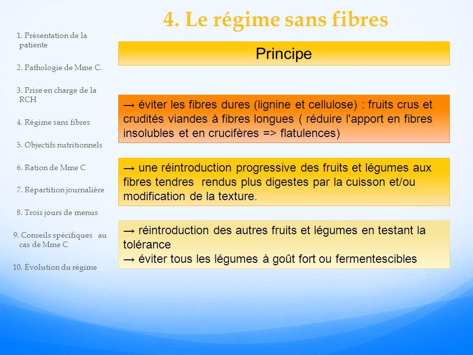 4. Le régime sans fibres éviter les fibres dures (lignine et cellulose) : fruits crus et crudités viandes à fibres longues ( réduire l'apport en fibre
