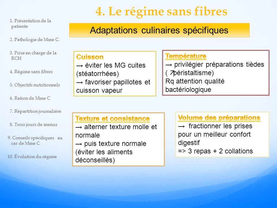 4.Le régime sans fibres Adaptations culinaires spécifiques 1.