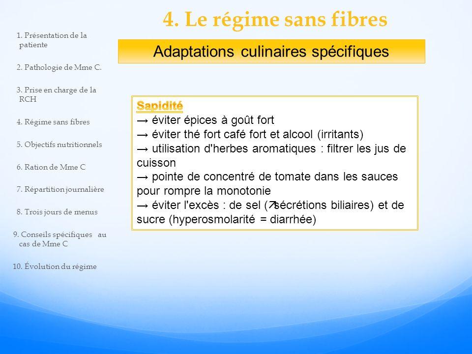 4. Le régime sans fibres Adaptations culinaires spécifiques 1. Présentation de la patiente 2. Pathologie de Mme C. 3. Prise en charge de la RCH 4. Rég