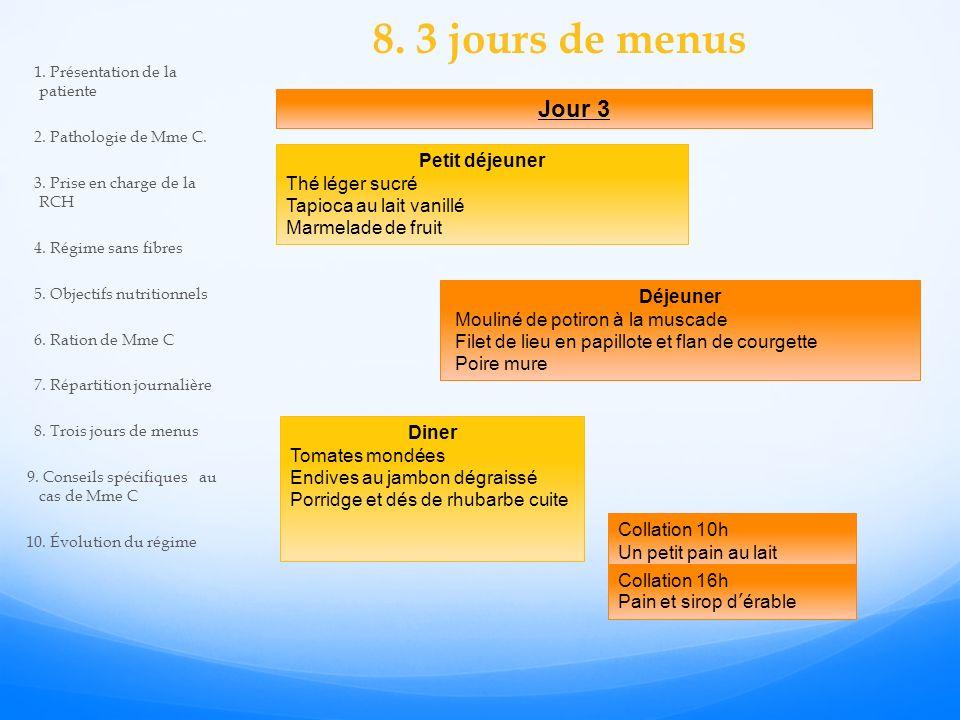 8. 3 jours de menus Jour 3 Petit déjeuner Thé léger sucré Tapioca au lait vanillé Marmelade de fruit Déjeuner Mouliné de potiron à la muscade Filet de