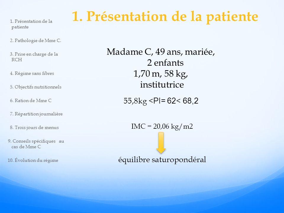 1. Présentation de la patiente Madame C, 49 ans, mariée, 2 enfants 1,70 m, 58 kg, institutrice 55,8kg <PI= 62< 68,2 IMC = 20,06 kg/m2 équilibre saturo