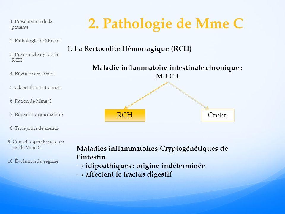 2.Pathologie de Mme C Maladie inflammatoire intestinale chronique : M I C I 1.