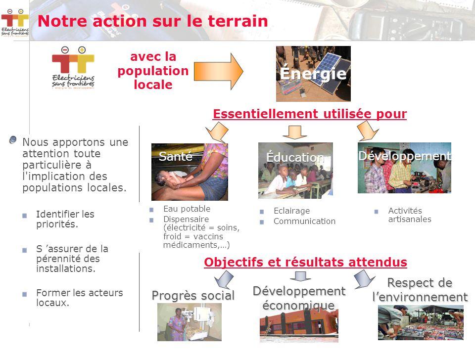 Notre action sur le terrain Objectifs et résultats attendus Essentiellement utilisée pour Progrès social Développementéconomique avec la population locale Nous apportons une attention toute particulière à l implication des populations locales.