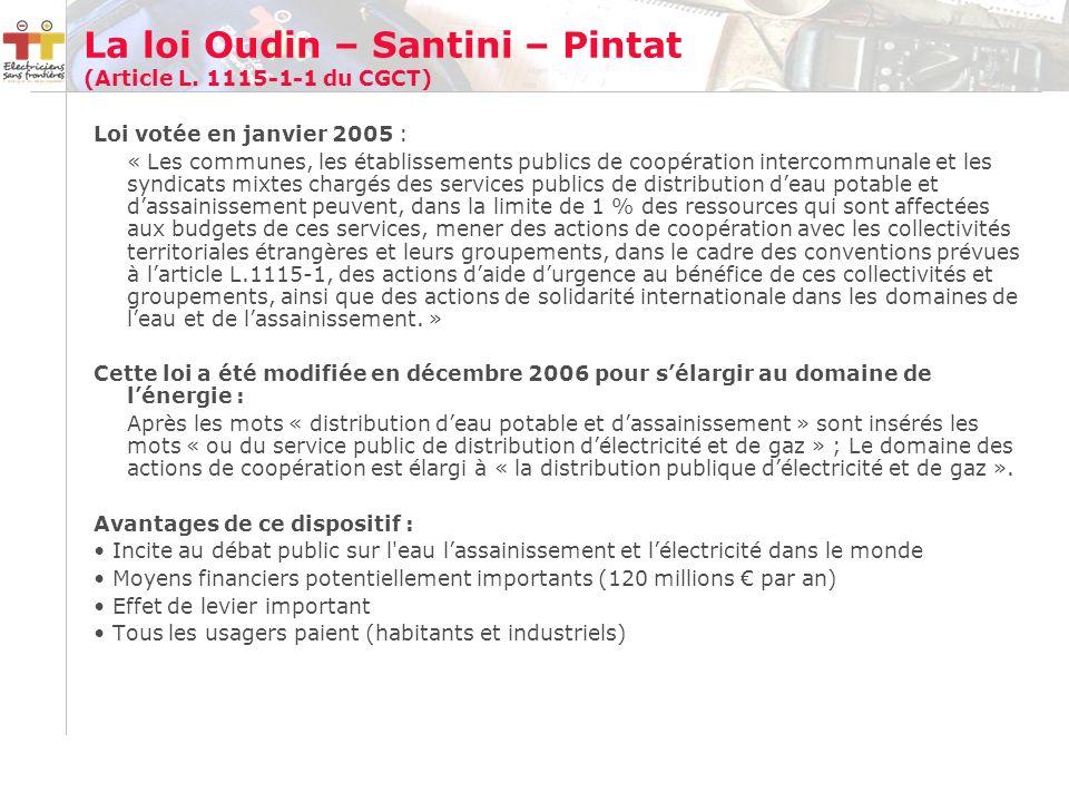 La loi Oudin – Santini – Pintat (Article L.