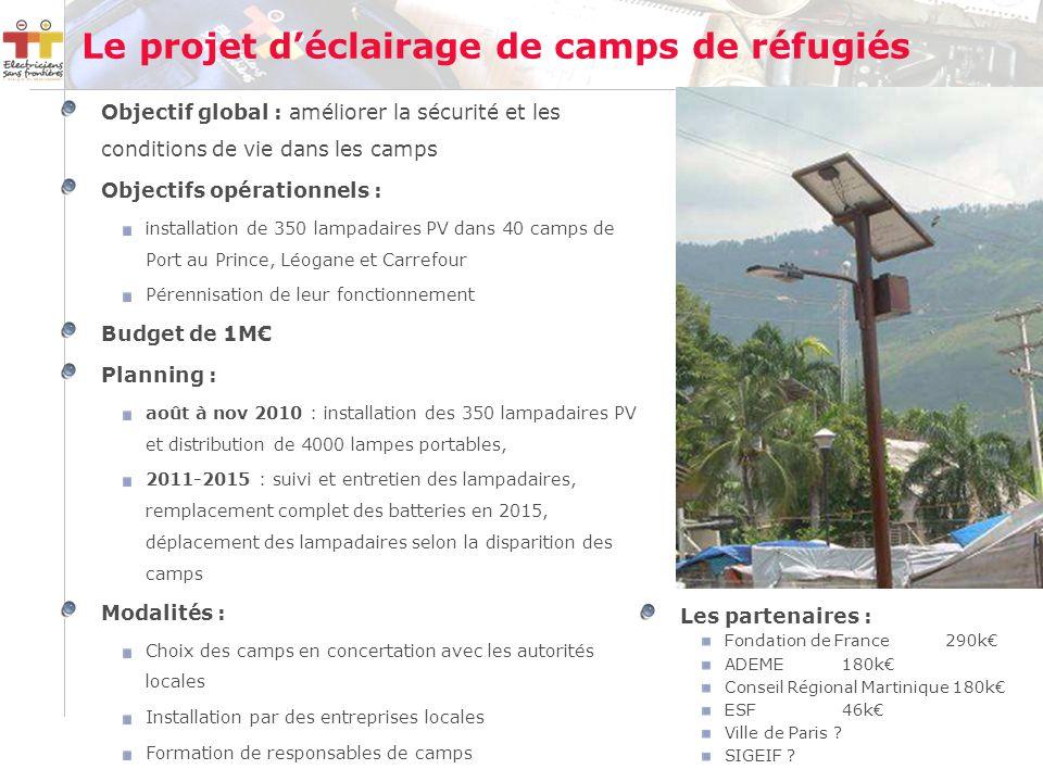 Le projet déclairage de camps de réfugiés Objectif global : améliorer la sécurité et les conditions de vie dans les camps Objectifs opérationnels : installation de 350 lampadaires PV dans 40 camps de Port au Prince, Léogane et Carrefour Pérennisation de leur fonctionnement Budget de 1M Planning : août à nov 2010 : installation des 350 lampadaires PV et distribution de 4000 lampes portables, 2011-2015 : suivi et entretien des lampadaires, remplacement complet des batteries en 2015, déplacement des lampadaires selon la disparition des camps Modalités : Choix des camps en concertation avec les autorités locales Installation par des entreprises locales Formation de responsables de camps Les partenaires : Fondation de France290k ADEME180k Conseil Régional Martinique 180k ESF 46k Ville de Paris .